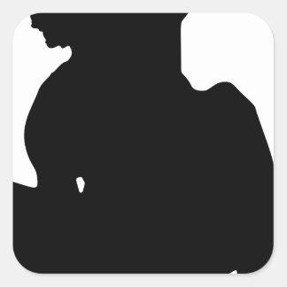 Silhouette faisante de la planche à roulettes de sticker carré