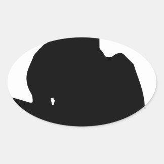 Silhouette faisante de la planche à roulettes de sticker ovale