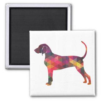 Silhouette géométrique de chien de Coonhound de Magnet Carré