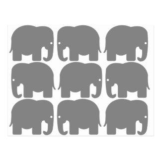 Silhouette grise d'éléphants carte postale