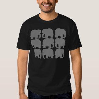 Silhouette grise d'éléphants t-shirts