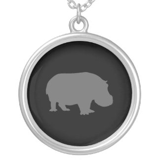 Silhouette grise d'hippopotame pendentif rond