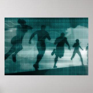 Silhouette Illustrati de logiciel de traqueur de Poster