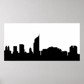 silhouette Indonésie d'horizon de ville de Jakarta Poster