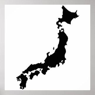 Silhouette Japon de noir d'ensemble de carte de Posters