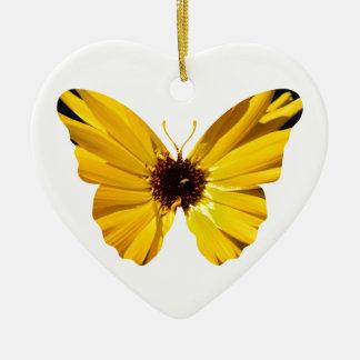Silhouette jaune de papillon de fleur ornement cœur en céramique