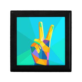 Silhouette moderne o de style géométrique de main boîte à souvenirs