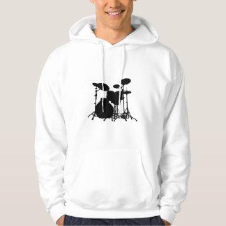 Silhouette noire et blanche de kit de tambour - veste à capuche