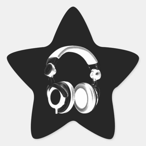 Silhouette noire et blanche d'écouteur autocollants en étoile