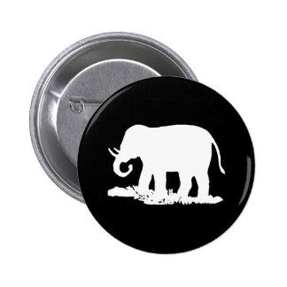 Silhouette noire et blanche d'éléphant badges