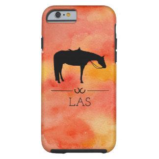 Silhouette occidentale noire de cheval sur coque tough iPhone 6