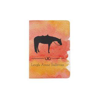 Silhouette occidentale noire de cheval sur protège-passeport