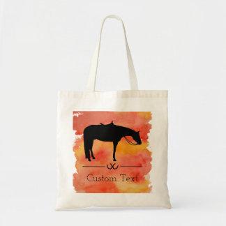 Silhouette occidentale noire de cheval sur tote bag