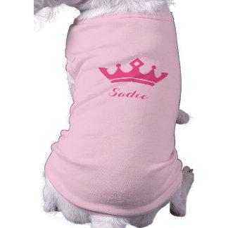 Silhouette rose de couronne avec le nom du chien t-shirt pour chien
