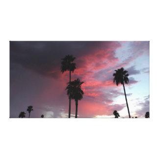 Silhouette rouge de ciel toile