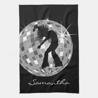 Silhouette super de danseur sur DiscoBall Serviette Pour Les Mains