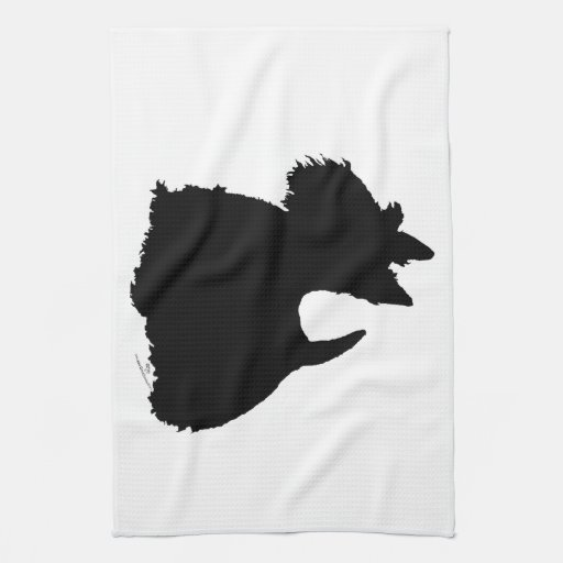 Silhouette vigilante de Terrier d'écossais Serviettes Pour Les Mains