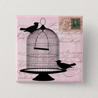 Silhouette vintage de cage à oiseaux badges