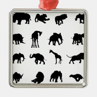 Silhouettes africaines d'animaux de safari ornement carré argenté
