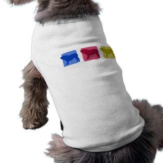 Silhouettes anglaises colorées de bouledogue tee-shirt pour animal domestique