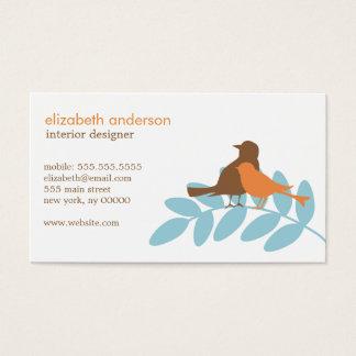 Silhouettes bleues et oranges d'oiseau de jardin cartes de visite