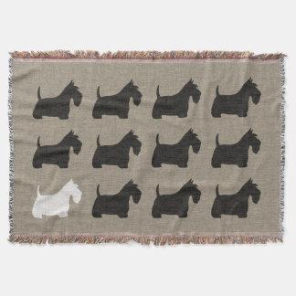 Silhouettes de chien de Scottie de Terrier Couvre Pied De Lit