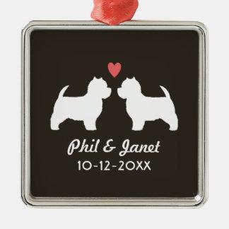 Silhouettes de chien de Westie avec le coeur et le Ornement Carré Argenté