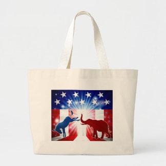Silhouettes de combat d'éléphant d'âne grand tote bag