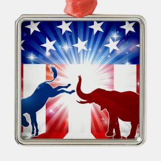 Silhouettes de combat d'éléphant d'âne ornement carré argenté