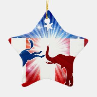 Silhouettes de combat d'éléphant d'âne ornement étoile en céramique