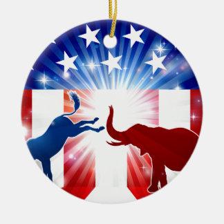 Silhouettes de combat d'éléphant d'âne ornement rond en céramique