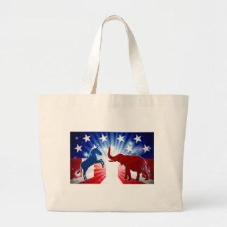 Silhouettes de mascottes d'éléphant et d'âne grand tote bag