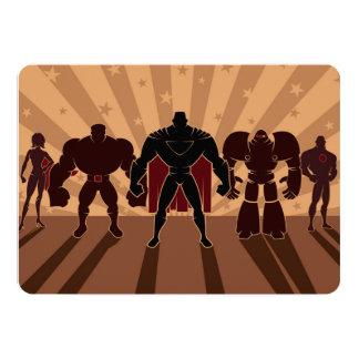Silhouettes d'équipe de super héros carton d'invitation  12,7 cm x 17,78 cm