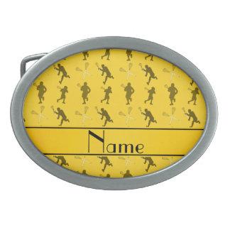 Silhouettes jaunes nommées personnalisées de boucle de ceinture ovale