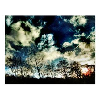 Silhouettes mobiles d'arbre contre les nuages carte postale