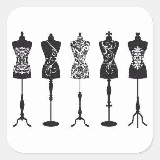 Silhouettes vintages de mannequins de mode stickers carrés