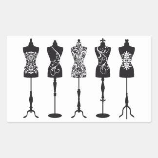Silhouettes vintages de mannequins de mode sticker rectangulaire