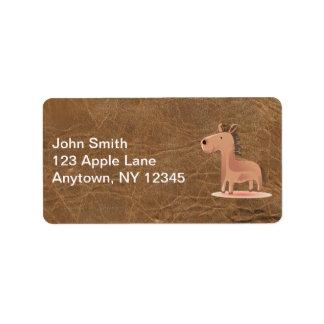 Simili cuir avec le cheval étiquettes d'adresse