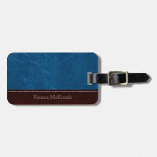 Simili cuir bleu étiquettes bagages