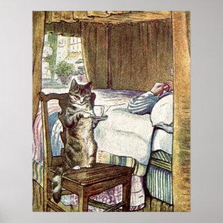 Simpkin le chat sert le thé posters