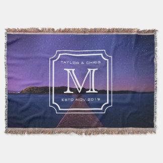 Simple beau de beau de paysage monogramme de photo couvre pied de lit
