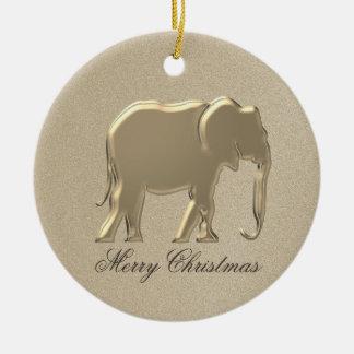 Simple chic élégant de Noël d'or d'éléphant Ornement Rond En Céramique
