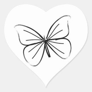Simple coeurs papillon de mariage de dessin au autocollant en cœur
