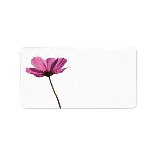 Simple pink flower label étiquettes d'adresse