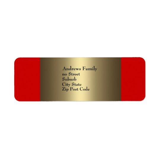 Simple rouge et en bronze d'étiquette étiquette d'adresse retour