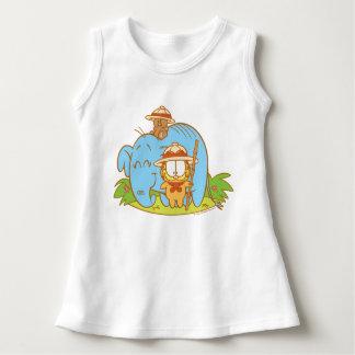 Simplement Garfield et Pooky avec un éléphant bleu Robe Sans Manche