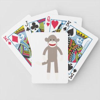 Singe de chaussette cartes à jouer