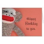Singe de chaussette de joyeux anniversaire cartes de vœux