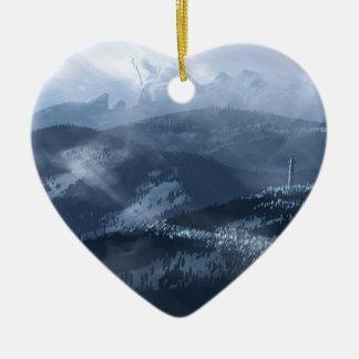 Singe de glace ornement cœur en céramique
