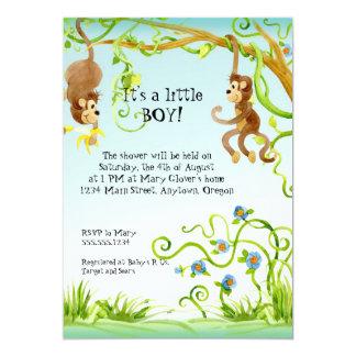 Singe de Lil, invitation de baby shower de garçon Carton D'invitation 12,7 Cm X 17,78 Cm